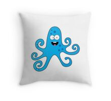 Funny cartoon octopus boy Throw Pillow