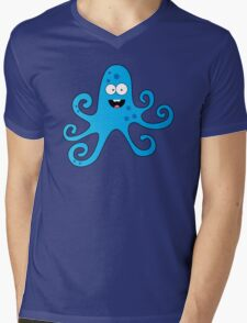 Funny cartoon octopus boy Mens V-Neck T-Shirt