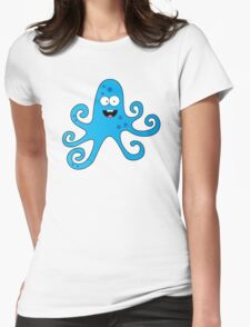 Funny cartoon octopus boy Womens Fitted T-Shirt