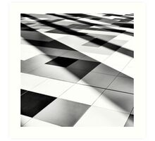 black and white tile geometry Art Print