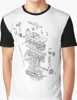 Honda B Series Engine Exploded Blueprint - Black Graphic T-Shirt