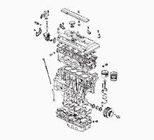 Honda B Series Engine Exploded Blueprint - Black Unisex T-Shirt