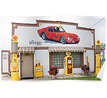 Restored Route 66 garage at Dwight. Poster