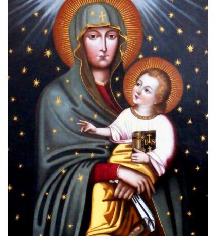Our Lady of Fatima, Polish Madonna and Child, Virgin Mary, religious catholic icon Sticker