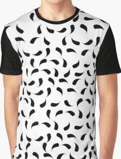Black and White Modern Tear Drop Pattern Graphic T-Shirt