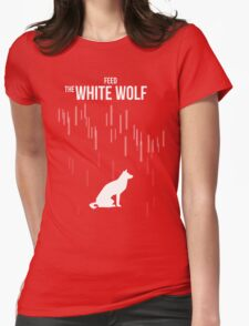 Feed the white wolf Womens Fitted T-Shirt