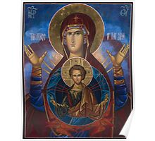 Our Lady Virgin Mary Theodokos with infant Jesus, Russian Byzantine icon Poster