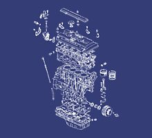 Honda B Series Engine Exploded Blueprint - White Unisex T-Shirt