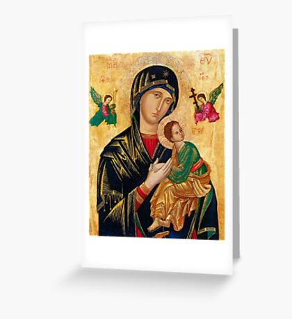 Our Lady of Perpetual Help, Russian orthodox icon, Madonna and Child, Virgin Mary  Greeting Card