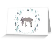 Deer in winter pine forest Greeting Card