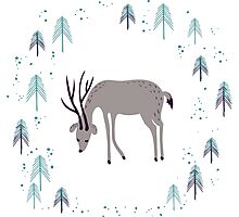 Deer in winter pine forest Photographic Print