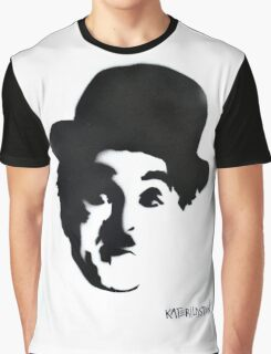 Charlie Chaplin Spray Paint Portrait Graphic T-Shirt