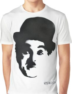 Charlie Chaplin Spray Paint Portrait Graphic T-Shirt