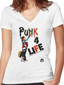 "Punky ""Punk 4 Life"" Brewster Women's Fitted V-Neck T-Shirt"