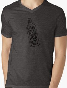 BOTTLE BLACK Mens V-Neck T-Shirt