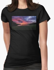 Fire on the Water. Fire in the Sky. Womens Fitted T-Shirt