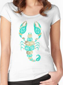 Scorpion – Turquoise & Gold Women's Fitted Scoop T-Shirt
