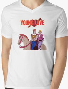 Young Love (He-Man and Bow) Mens V-Neck T-Shirt