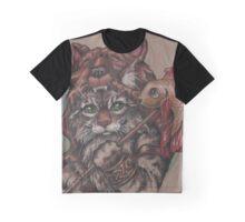 Viking Cat Bear (with fish) Graphic T-Shirt