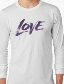 Bold Purple Zen Brush Love Hand Lettering - Fashionable Artistic Calligraphy Word for Valentine Long Sleeve T-Shirt
