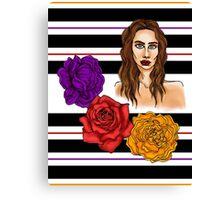 3 Flower Portrait Canvas Print