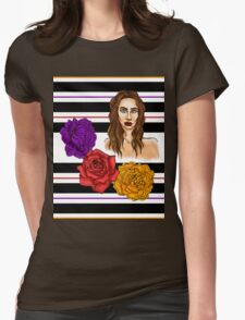 3 Flower Portrait Womens Fitted T-Shirt