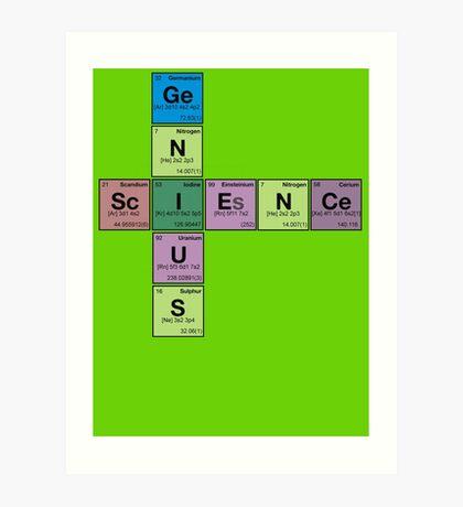 SCIENCE GENIUS! Periodic Table Scrabble Art Print