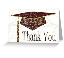 Maroon & Gold Floral Cap Thank You Card  Greeting Card