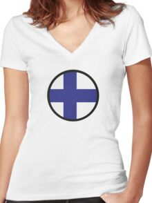 Under the Sign of Finland Women's Fitted V-Neck T-Shirt