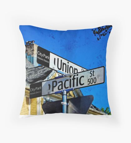 Corner of Union and Pacific Street Throw Pillow