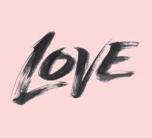 Bold Brush Strokes Love Word Hand Lettering - Artistic Zen-like Calligraphy for Valentine Kids Tee