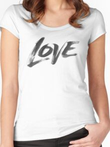 Bold Brush Strokes Love Word Hand Lettering - Artistic Zen-like Calligraphy for Valentine Women's Fitted Scoop T-Shirt