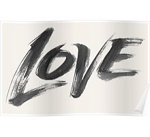 Bold Brush Strokes Love Word Hand Lettering - Artistic Zen-like Calligraphy for Valentine Poster