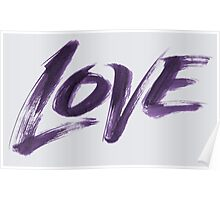 Bold Purple Zen Brush Love Hand Lettering - Fashionable Artistic Calligraphy Word for Valentine Poster