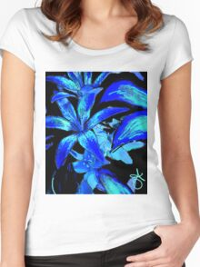 Midnight Hibiscus Flower Women's Fitted Scoop T-Shirt