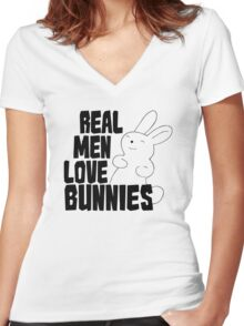 Real Men Love Bunnies Women's Fitted V-Neck T-Shirt