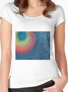 Rainbow Ringed Planet  Women's Fitted Scoop T-Shirt