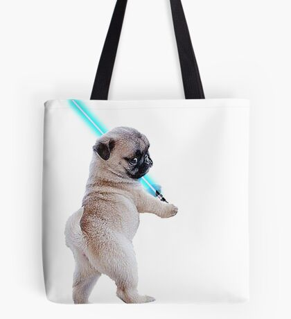 Pug with Lightsaber Tote Bag