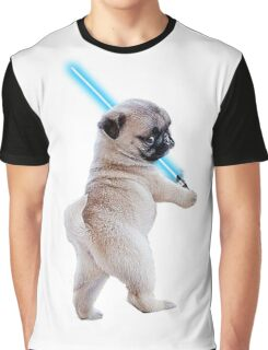 Pug with Lightsaber Graphic T-Shirt