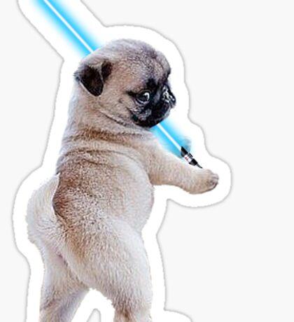 Pug with Lightsaber Sticker
