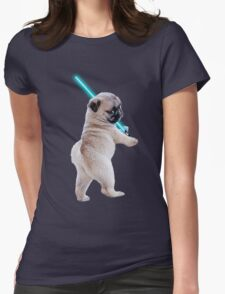 Pug with Lightsaber Womens Fitted T-Shirt