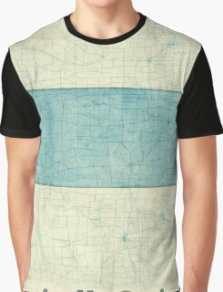 Kansas State Map Blue Vintage Graphic T-Shirt