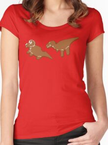 Gingerbread Dinos Women's Fitted Scoop T-Shirt
