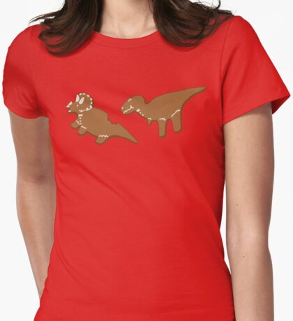 Gingerbread Dinos Womens Fitted T-Shirt