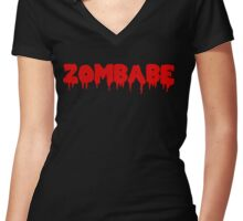 Zombabe (red) Women's Fitted V-Neck T-Shirt