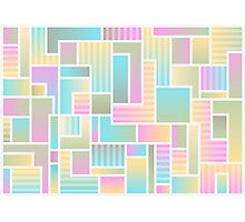 Pastel Colorful Block Pattern Photographic Print