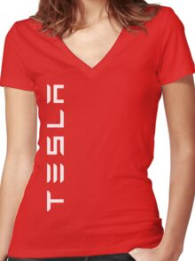 Tesla Side Logo! Women's Fitted V-Neck T-Shirt