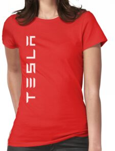 Tesla Side Logo! Womens Fitted T-Shirt