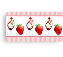 Strawberry Sundae Sweet Treat Vanilla Chocolate Pink Stripes Canvas Print