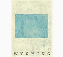 Wyoming State Map Blue Vintage Unisex T-Shirt